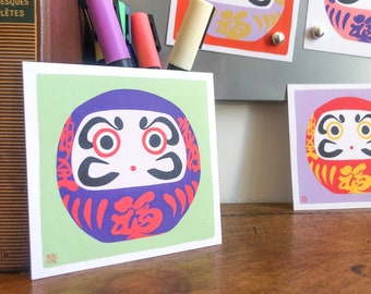 Pack of 6 Daruma Illustration art print on recycled paper