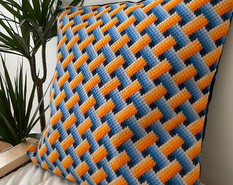 Handmade Bargello needlepoint cushion, Bargello embroidery, one off decorative pillow, 45cm square,Christmas gift, Free UK delivery.