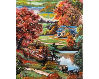 Landscape Painting Autumn Art Vintage House Painting Forest Gouache Artwork Colorful Trees Painting Nature Original Painting Nature Wall Art