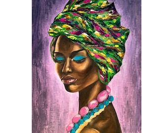 African American Women Original Oil Painting African Queen Artwork Beautiful Black Woman Portrait Painting African Woman Face Art Gift 20x16