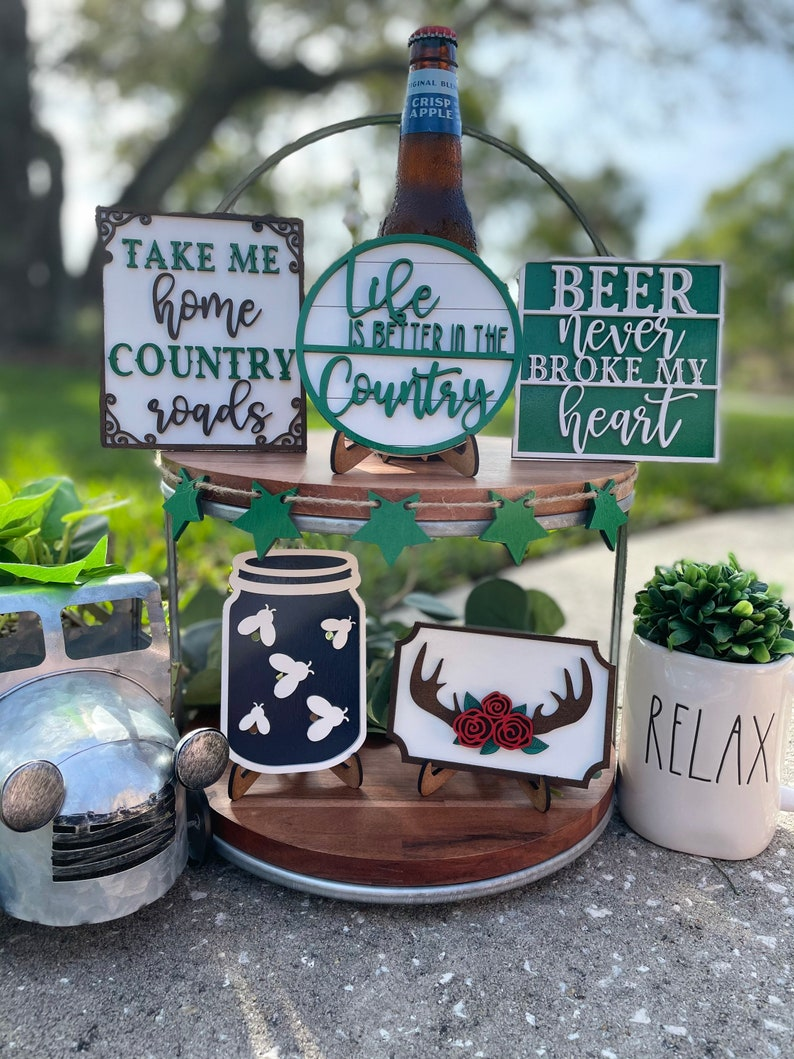 Beer Decor life is better in the country beer tiered tray set country tier tray decor country home decor country tiered tray set