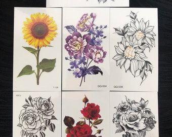 Temporary tattoo, flower tattoo, bow tattoo, rose tattoo these are on a 1.5 x 3 inch card and some have multiple tattoos on them.