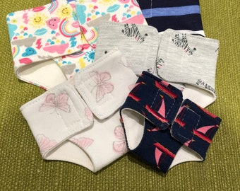 Doll diaper size 22-24, 26-28, 30-32, 34-36, 40-43 Pattern selection e.g. animals, flowers, uni, patterned, made of cotton jersey