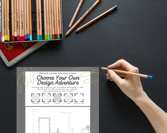 Choose Your Own Design Adventure Coloring Pages (5) Printable 8.5'' x 11'' Home Scenes