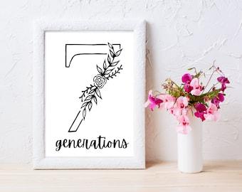 Printable Wall Art, Sustainability Wall Art, Activist Wall Art, 8x10 Art, 7 Generations Floral