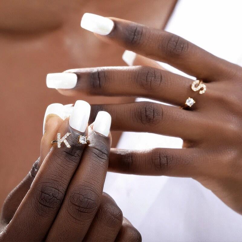 Initial A-Z 26 Letter Ring For Women, Gold Initial Ring, Silver Initial Ring, Letter ring, Dainty Initial Letter Ring, Custom Gift