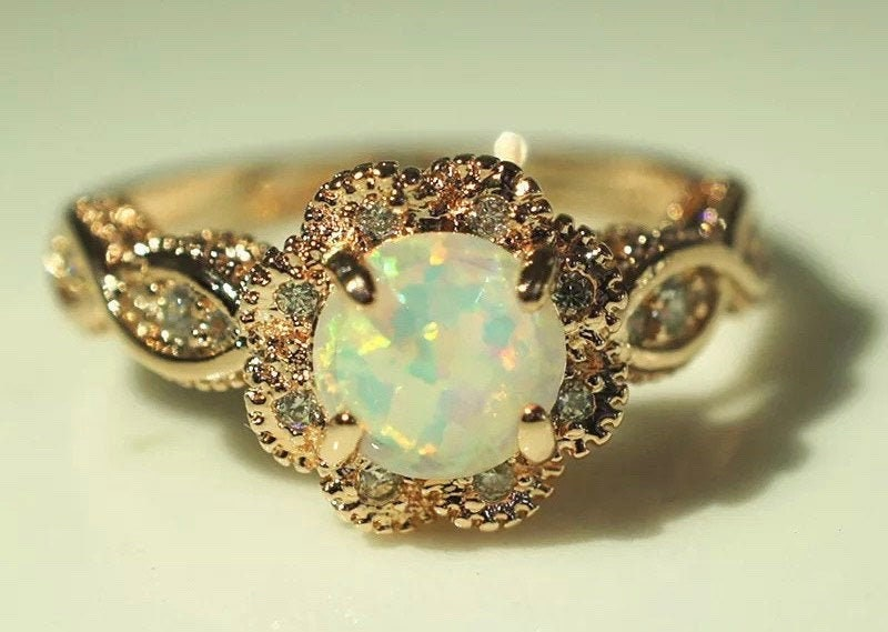 Opal Ring, Fire Opal Ring, Gold Elegant Opal Ring, White Opal Gold Ring, Love Couple Engagement Ring, Wedding Engagement, Gold Plated Ring