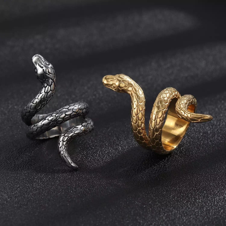 Snake Ring, Gothic Ring, Gold Ring, Black Ring, Gothic Jewelry, Snake Jewelry, Snake ring, dainty ring, open snake ring, wrap ring, Gift