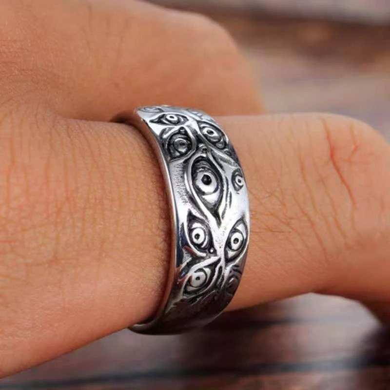 Retro Gothic Demon Eyes Ring, Men's Punk Biker Ring, Metal Jewelry Hip Hop Personality Rings Gift