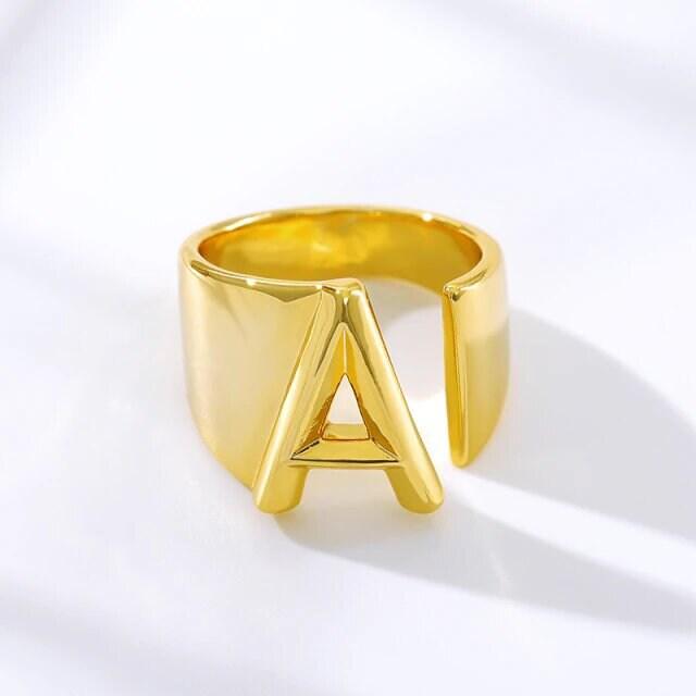 Gold Initial Ring, Initial Ring A-Z, Initial rings, Adjustable Letter/Initial Ring, Statement rings, Custom Letter Ring, Letter ring