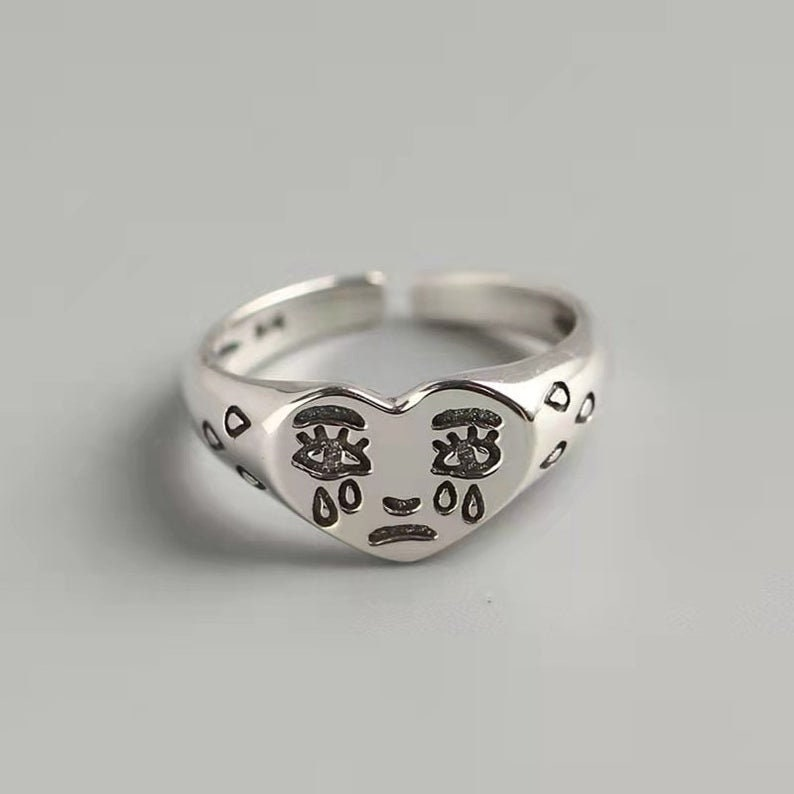 Creative Cry Face Ring for Women, New Trendy Fashion Ring, Female Resizable Ring, Sad Tears Ring, Love Heart Rings, Silver Fun Face Ring