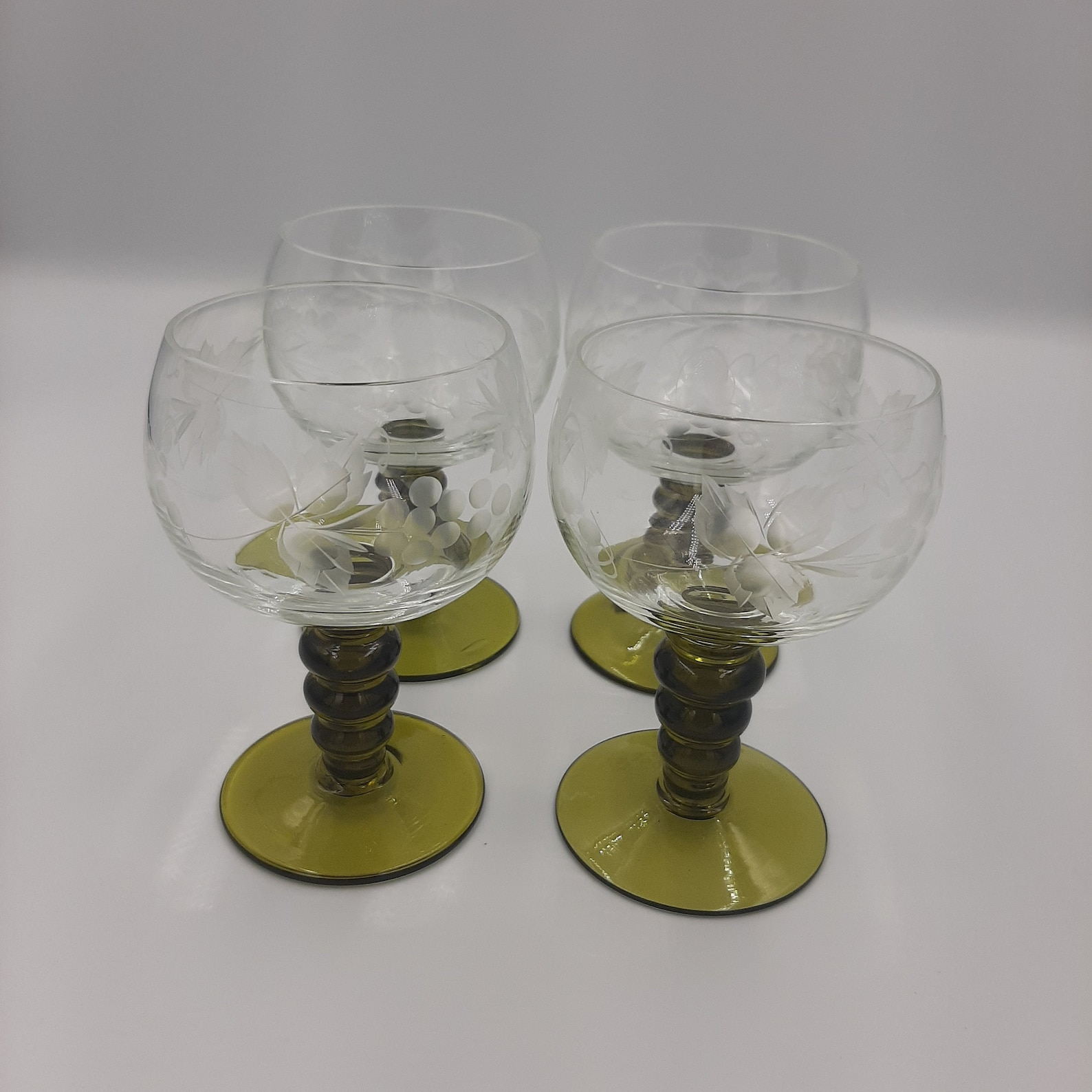 Vintage Roemer Wine Glasses with Olive Green Stem Clear Bowl with Etched Grape and Vines