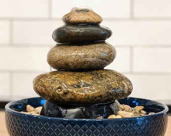 Stacked River Rock Tabletop Cairn Fountain   Natural Rock Indoor Water Fountain   DIY Water Fountain   Sea to Sky