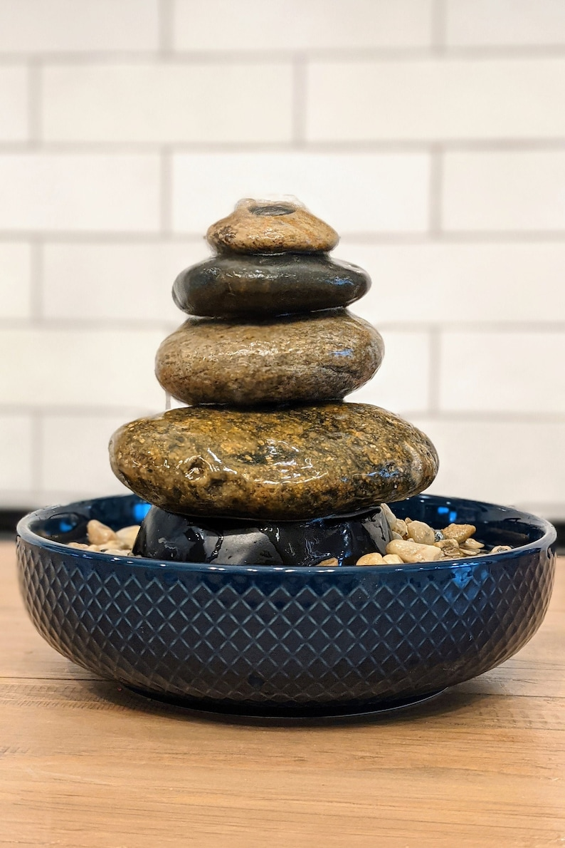 Stacked River Rock Tabletop Cairn Fountain  Natural Rock image 1
