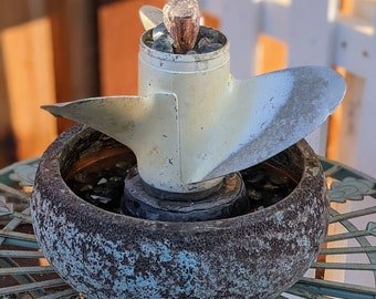 Vintage Upcycled White Boat Propeller Fountain