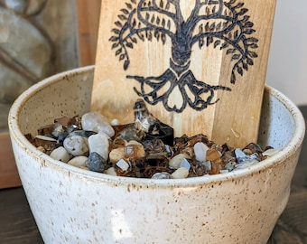 Wood Burned Water Fountain with Natural Rock   Custom Water Fountain   DIY Water Fountain   Annadel Loop