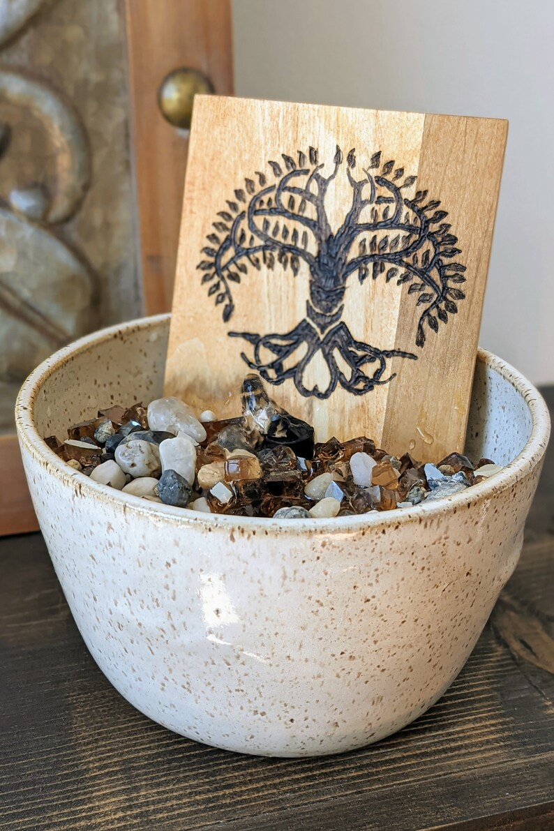 Wood Burned Water Fountain with Natural Rock  Custom Water image 1