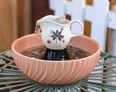 Vintage Upcycled Leaves Creamer with Coronado Bowl Water Fountain