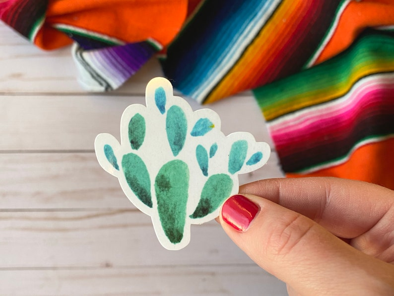 Glossy Waterproof Sticker Mexican Sticker Otomi Cactus Sticker
