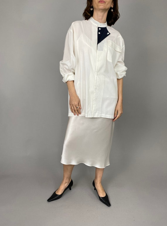 Vintage white cotton blouse with band collar size