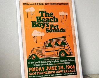 The Beach Boys vintage Concert Poster, Beach boys Print, 60's print