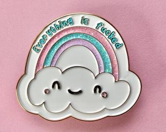 Rainbow enamel pin, kawaii enamel pin, swear pin, cute enamel pin, swearing gifts, anxiety enamel pin, rainbow pin badge, funny enamel pin