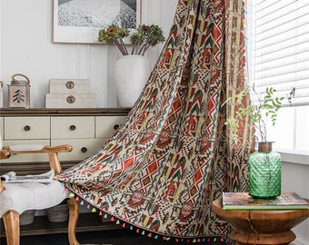 Boho Linen and Cotton Curtain Bohemian Geometric Window Curtain for Living Room Bedroom Country Style
