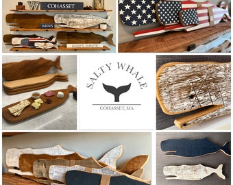 The Original Salty Whale From Antique Reclaimed Salvaged Wood