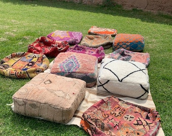 Moroccan Kilim Pouf, Floor Pouf, Vintage Moroccan Ottoman, Beni Ourain Square Pouf, Yoga Meditation Cushion, Outdoor Red Kilim Pillows