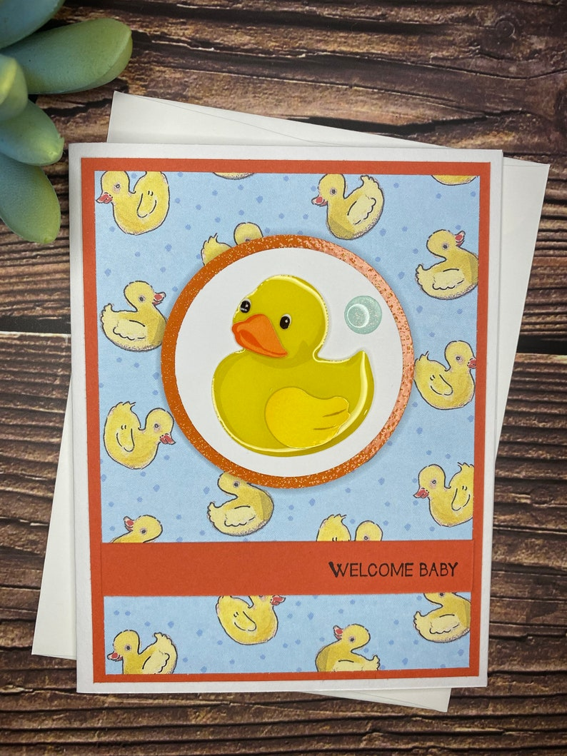 Gender Neutral Baby Card Cute Baby Card Handmade Baby Card Baby Shower Card New Baby Rubber Ducky Baby Card Congratulations Baby Card