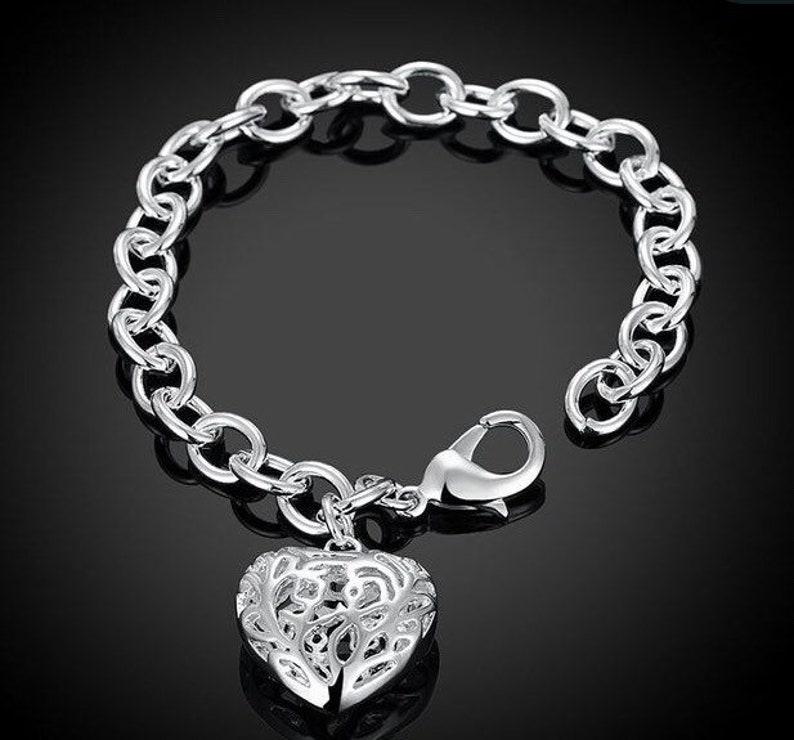 925 sterling silver heart charm bracelet