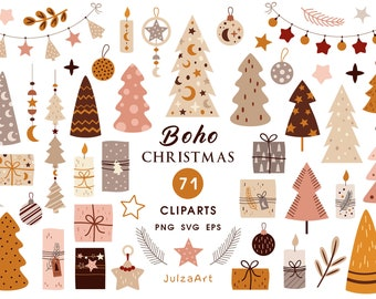 Boho Christmas clipart, Bohemian New Year tree svg files for cricut, Neutral Christmas Holiday png for nursery prints, Commercial use