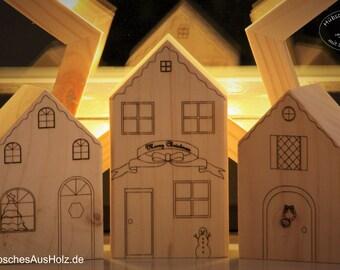 Holzhäuschen 3er-Set, Weihnachtsdeko oder naturbelassen, Weihnachtsschmuck, Häuser aus Holz, Holzhäuser zum Bemalen