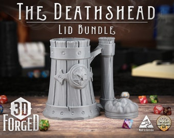 The Deathshead Draught Lid Bundle || Mythic Mugs - Can Holder/Stubby Holder/Koozie for Tabeltop Gaming, RPG, DND, Dungeons And Dragons