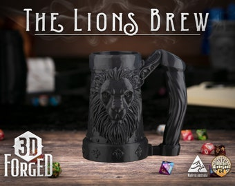 The Lions Brew || Mythic Mugs - Can Holder/Stubby Holder/Koozie for Tabletop Gaming, RPG, DND, Dungeons And Dragons, Pathfinder & Warhammer