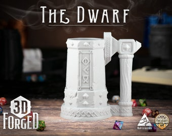 The Dwarf || Mythic Mugs - Can Holder/Stubby Holder/Koozie for Tabletop Gaming, RPG, DND, Dungeons And Dragons, Pathfinder & Warhammer