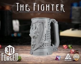 The Fighter || Mythic Mugs - Can Holder/Stubby Holder/Koozie for Tabletop Gaming, RPG, DND, Dungeons And Dragons, Pathfinder & Warhammer