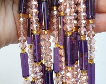 Purple and Light Pink Waist Beads