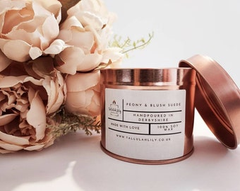 Victorian Rose Wood wick Soy Container Candle with Rose quartz