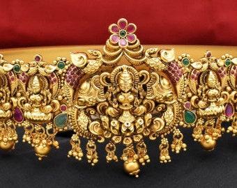 Indian traditional jewelry gold polished hip belt, gold bridal hip belt, South Indian jewelry,kemp stone kamarbandh, Gold lakshmi saree belt