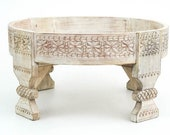 Wooden Indian Handmade Antique Carving Coffee Table ,Chakki Grinder Table