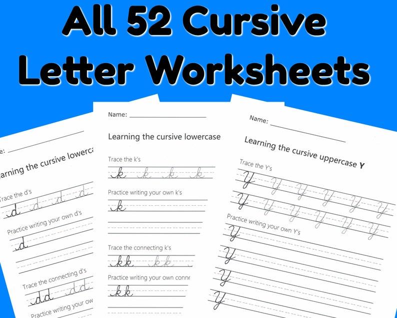 Cursive Letter Worksheets for every letter  Instant download image 0