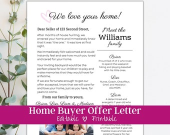 Home Offer Letter Template, Editable Buyer Offer Letter, Letter to Seller, Personalized Real Estate Letter, Home Buying Letter, Cover Letter