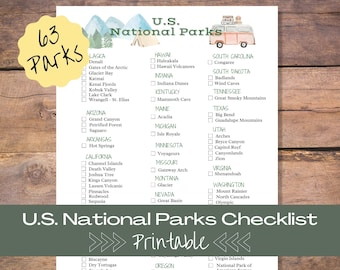 National Park Checklist Printable   United States National Parks Log   Travel Journal Insert   Adventure Gift   U.S. Park Challenge