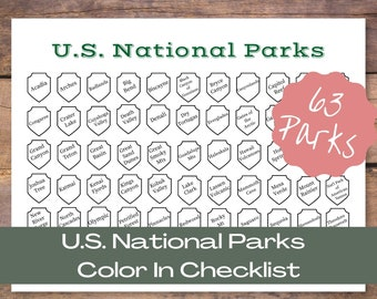 US National Parks Printable   United States National Parks Color In Log   Travel Journal Insert   Adventure Gift   U.S. Park Challenge