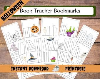 Halloween Bookmark   Book Tracker Bookmark Printable   Reading Tracker Digital Download   Bookmark Set   Bookshelf Bookmark
