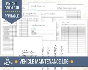 Vehicle Maintenance Log Printable   Car Maintenance Checklist and Planner   Vehicle Service Record   Mileage Log   Household Binder