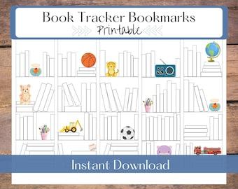 Book Tracker Bookmark Printable   Reading Log Digital Download   Kids Bookmark Set   Book Lover Gift   Color In Bookshelves Bookmark