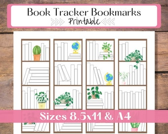 Book Tracker Bookmark Printable   Reading Tracker Digital Download   Bookmark Set for Men and Women