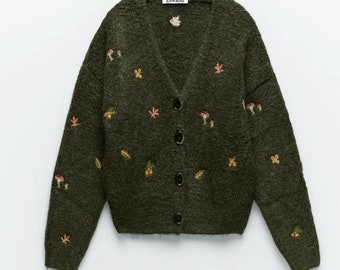 Cozy Knit Embroidered Cottagecore Sweater